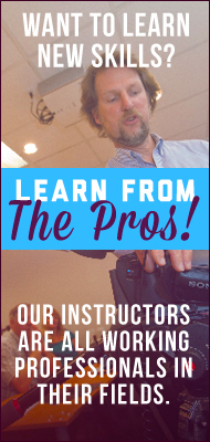 Learn web design, video production, photography and more from industry professionals.